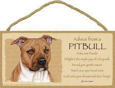 Advice From A PIT BULL Dog Head 5 x 10 Wood SIGN Plaque USA Made