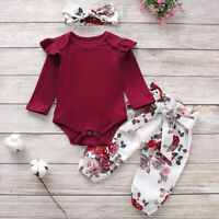 Toddler Baby Girl Long Sleeve Romper Tops Floral Pants Headband Outfits Clothes