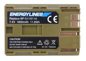 Batterie pour Canon BP-511 / 511A; BP-508; BP-511A;BP-512; BP-514 Energylines