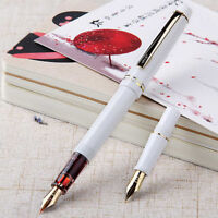 Wing Sung 659 White Fountain Pen Golden Clip EF/F 2 Nibs 0.38/0.5mm For Student