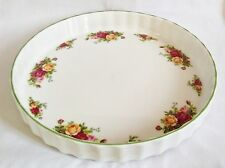 Royal Albert Old Country Roses Flan Dish - Large 11 3/4 inch Quiche Dish