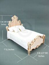 "Wooden 1:12 Scale Miniature The ""Escala ""King Bed For Doll House [Unfinished]"