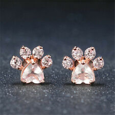 Women's Rose Gold Plated Paw Aquamarine Stud Hoop Earring Jewelry Fashion Girls