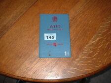 AUSTIN A110 WESTMINSTER OWNERS MANUAL / HANDBOOK. 1968.