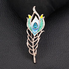 Feather Charm Brooch Pin Jewelry Gift Betsey Johnson Enamel Crystal Evil Eye