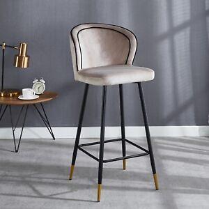 2X Bar Stool Velvet Fabric luxury Gold Tips Breakfast Stool Chairs Kitchen Pub