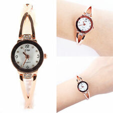 Ladies Fashion Rose Gold Quartz White Dial & Rhinestone Bracelet Wrist Watch.