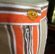 "24W 24"" TRUE VTG 60s HOME MADE TAN/ORANGE STRIPE PLEATED COTTON KNEE SKIRT"