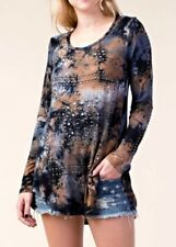 VOCAL NAVY CAMEL TAUPE TIE-DYE LONG SLEEVE TOP SIZE XL, 3XL