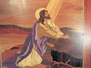 "JESUS PRAYING WOOD MARQUETRY PICTURE (14"" SQUARE)"