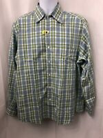 Ermenegildo Zegna Mens Blue Green Button Down Dress Shirt Check Plaid Size L