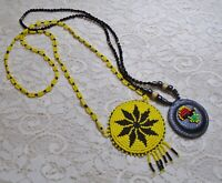 VINTAGE SOUTHWEST BLACK & YELLOW GLASS SEED BEADED MEDALLION NECKLACE LOT