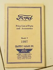 Model T Ford Price List of Parts and Accessories
