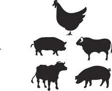 15 X FARM YARD ANIMALTILE TRANSFERS WALL DECALS ANY FLAT SURFACE 2 SIZES
