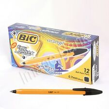 Black 12pcs - Bic Orange Fine 0.7mm Ball Point Pen / Easy Glide Ink - 1Box / New