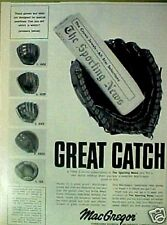 1968 MacGregor Baseball Gloves Catcher Fielders Sporting New Great Catch Ad
