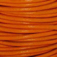 Lacet de cuir rond au mètre, diam 2 mm orange