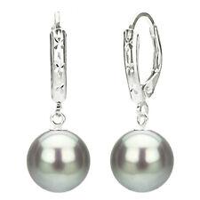 Sterling Silver 9-10mm Grey Freshwater Pearl Design Lever-back Earrings
