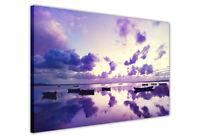 PURPLE LANDSCAPE SEA SKY CANVAS WALL ART PICTURES PHOTO PRINTS HOME DECORATION