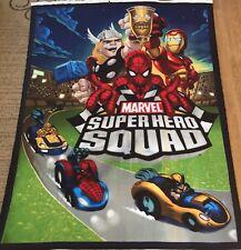 MARVEL Super Hero Squad FLEECE Fabric Panel  Blanket 62x48 NEW