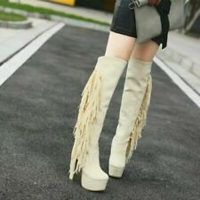 Womens Retro Tassel Fringe Knee High Riding Boots Block Heel Platform Plus Size