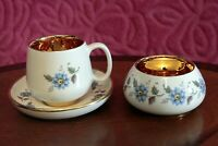 Rare classic Prinknash Pottery Floral Cup and Saucer with  sugar bowl