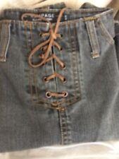 Pencil Skirt Vtg Rampage GRAY Denim Midi Boho Grunge Leather Lace Up Closure 5