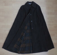 "Women's Gloverall Vintage Cape Cloak Wool Dark Brown Check 40"" Large R3-15"