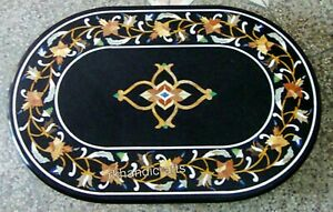 Floral Border Work Coffee Table Top Oval Marble Sofa Table Top 24 x 36 Inches