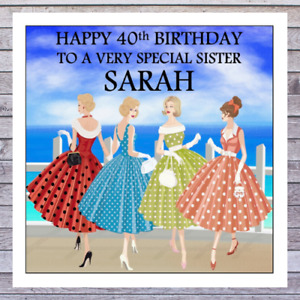 BIRTHDAY CARDS RETRO 18th 21st 30th 40th 50th FRIEND WIFE MUM SISTER DAUGHTER