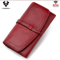 Women Cowhide Genuine Leather Long Clutch Wallet Credit Card ID Holder Purse New