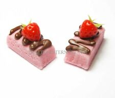 2 Dollhouse Miniature Strawberry Cakes * Doll Mini Tiny Food Dessert Chocolate