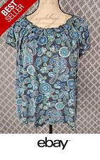Woman's Cute *KIM ROGERS* Multi Color Paisley Print Casual Career Top Size L
