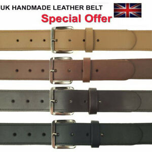 """MENS WOMENS 1.5"""" CASUAL HIGH QUALITY 100% LEATHER WAIST JEANS TROUSER BELTS"""
