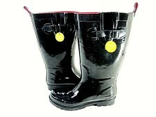 Capelli New York Ladies Tall Sporty Body Rubber Black Rain Boots Size 9 Wide