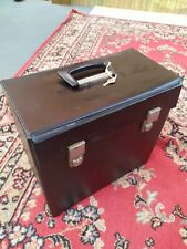 "Vintage black 12"" Vinyl LP Record Storage Box Carry Case"
