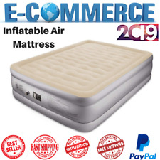 Inflatable Queen Size Air Mattress With Built-In Pump Double Airbed 18 In Beige