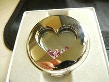 Swarovski Compact Mirror Floating Pink Crystals Heart