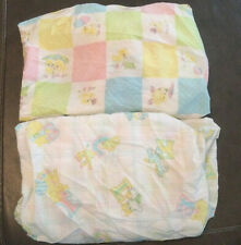 Two Vintage Fitted Crib Sheets Baby Chicks Animals Alphabet
