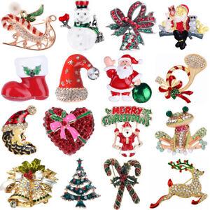 Christmas Brooch Badge Pins Rhinestone Festival Brooch Pin Xmas Party Gift