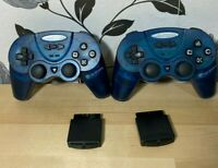 2 x Joytech Wireless Controllers Gamepads Blue for Sony PS2 PlayStation 2