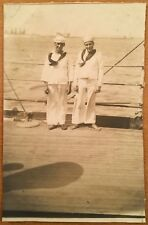 c1908 2 SAILORS ON BOARD THE USS NEBRASKA One Barefoot US NAVY GREAT WHITE FLEET