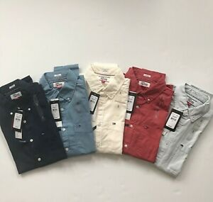 NWT Tommy Hilfiger Denim Mens Solid All Cotton Slim Fit Long Sleeve Shirt All Sz