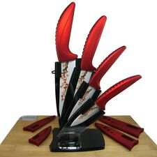"Kitchen Red Ceramic Knife Set 3"" 4"" 5"" 6"" Peeler + Cover without Acrylic Holder"