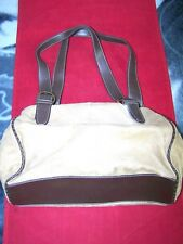 RELIC BRAND DESIGNER SHOULDER BAG PURSE BEIGE BROWN SUEDE FEEL