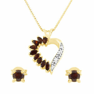 24k Gold Over Silver Round Cut Genuine Diamond Pendant Earrings Jewelry Set