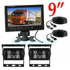 "2x 4Pin 18 LED Reversing Camera + 9"" LCD Monitor for Bus Truck Caravan 12V-24V"