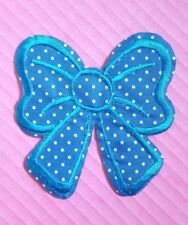 Large Blue Polka Dot Bow Iron On / Sew on patch / Applique / Badge