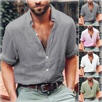 Mens Linen Long Sleeve Shirt Summer Loose Fit Casual V-Neck Shirts Tops  M-3XL