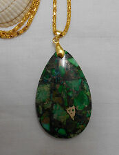 Unique tear drop shaped green sea sediment jasper gemstone gold plated necklace